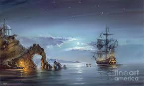 landscape painting moonlight night by roman romanov