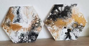 2 set fluid art landscape painting