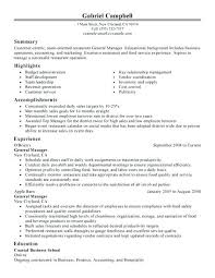 Examples Of Restaurant Resumes Interesting Resume Samples For Restaurant Assistant Restaurant Manager Resumes