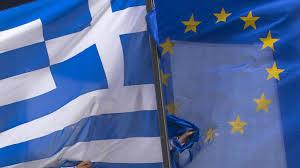 Resultado de imagem para as bandeiras da grécia e da união europeia
