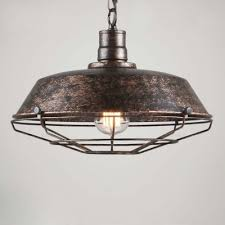 14 Inches Wide Weathered 1 Light Industrial Cage LED Pendant