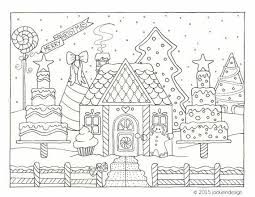Gingerbread House Winter Scene Coloring Page Pdf Instant
