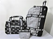 3pc victoria secret pink wheelie suitcase luge set carry on duffle makeup bag