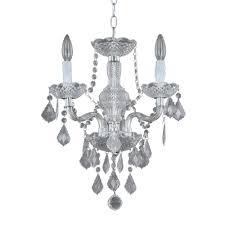 hampton bay maria theresa 3 light chrome and clear acrylic mini chandelier