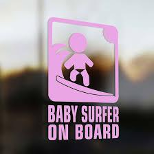 baby surf on board sticker pink