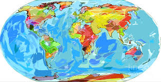 maps painting ocean curs world map by david lloyd glover