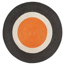 orange dot gray border 4 ft round jute area rug new anji mountain