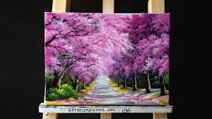 beautiful cherry blossoms road acrylic painting canvas size 12 x 16