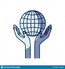 Chart Charity Blue Color Silhouette Shading Of Hands With Floating Globe