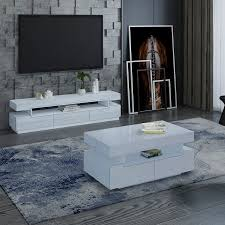 white gloss coffee table and tv stand