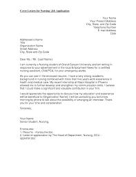 Grad School Cover Letter Cover Letter For Nursing Job Application