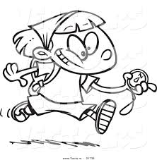 Small Picture Vector of a Cartoon Hiker Girl Running with a Compass Outlined