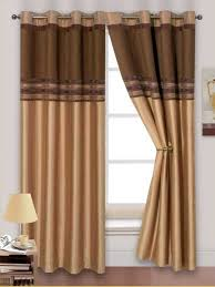 stylish 2 tone chenille faux silk ringtop eyelets lined curtains brown latte gold colour