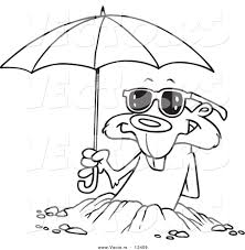 Vector of a Cartoon Groundhog Emerging with Shades and an Umbrella ...