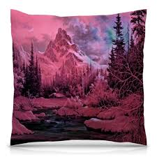 <b>Подушка 40</b>×<b>40 см</b> с полной запечаткой Розовый пейзаж ...