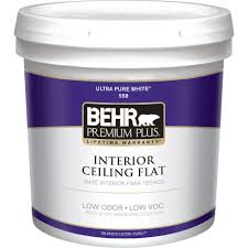 Behr Premium Plus 5 Gal White Flat Ceiling Interior Paint 55805