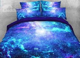 57 space galaxy printed cotton 4 piece fluorescent 3d blue bedding sets duvet covers