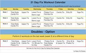 21 Day Fix Workout Calendar Calendar Yearly Printable