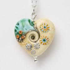 handmade lampwork sea and sand heart pendant