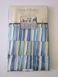new 70 inch round kemp beatley vinyl tablecloth with zipper blue green white