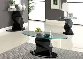 halawa v oval gl top coffee table w black lacquer pedestal base furniture of