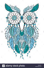 Drawn Dream Catchers blue tribal dream catcher owl handdrawn illustration Stock Photo 43