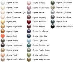 Pearl Color Chart Swarovski Pearl Color Chart