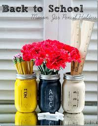 teacher gift pencil holder mason jars painted