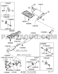 Mitsubishi parts diagram fresh exhaust pipe muffler engine mrjer cj4a ge