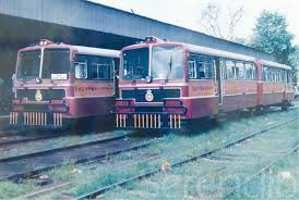 a souvenir photograph at the colombo railway museum of unusual rail buses at kurunegala station in 1999