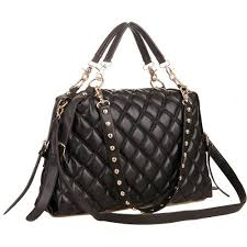 MG Collection MIZU Trendy Black Quilted Office Tote Studded ... & MG Collection MIZU Trendy Black Quilted Office Tote Studded Shoulder Straps Adamdwight.com