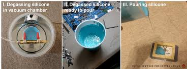 after mixing the two part silicone i put the mixture in a vacuum chamber to degass it i this degassed silicone is removed from the vacuum chamber ii