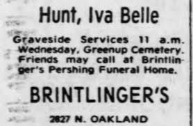 Iva Hunt Graveside Service - Newspapers.com