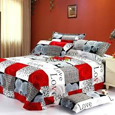 modern bedroom design with love words red rose print duvet cover king size bedding sets g