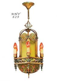 antique 1920s chandelier polychrome candle type ceiling light fixture ant 829
