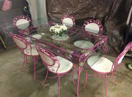 home design pink dining room set and vtg mid century wrought iron patio table 6
