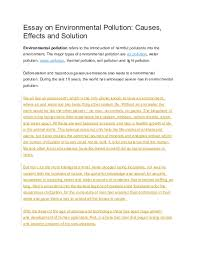 Essay Environment Pollution Doc Essay On Environmental Pollution Causes Effects And