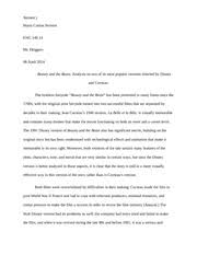 movie review brittingham samantha brittingham writing ii  6 pages beauty and the beast essay 3