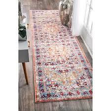 nuloom traditional vintage inspired fl border light blue runner rug 2 6 x