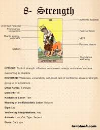 The basic card symbols are a full moon (with a crescent within), twin pillars, a dog and a wolf howling, a stream that runs to the ocean, and a crayfish emerging from the water. Strength Tarot Card Meanings Keywords Symbolism Love And Career