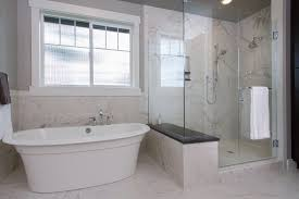 freestanding tub with shower enclosure. contemporary master bathroom with rectangular shower enclosure, frameless showerdoor, handheld head, freestanding tub enclosure