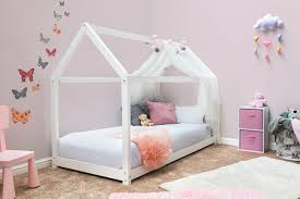 treehouse style white kids wooden pine single bed frame