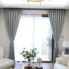 Nordic Grey Solid Curtains For Bedroom Modern Living Room Curtains ...