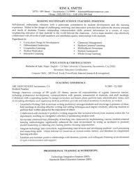 Secondary School Teacher Resume Sample