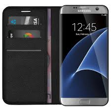 leather wallet case card holder for samsung galaxy s7 edge black