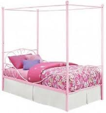 TWIN SIZE METAL CANOPY BED Frame Bedroom Furniture Room Kids Girls Teen Pink New