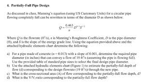 Hydraulic Elements Chart Solved 4 Partially Full Pipe Design As Discussed In Clas