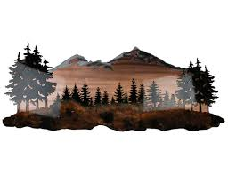tree scene metal wall art:  metal wall art mountain landscape