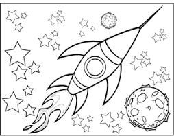 Small Picture Rocketship and Planet Coloring Page
