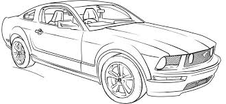 Ford Mustang Gt Lineart Coloring Page Grandkids Cars Coloring
